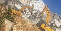 الاحتلال يهدم منزل في شعفاط