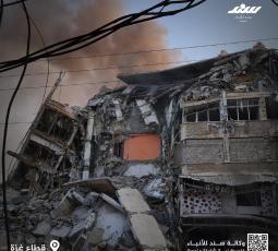 دمار كبير في محيط برج الشروق الذي دمرته طائرات حربية إسرائيلية