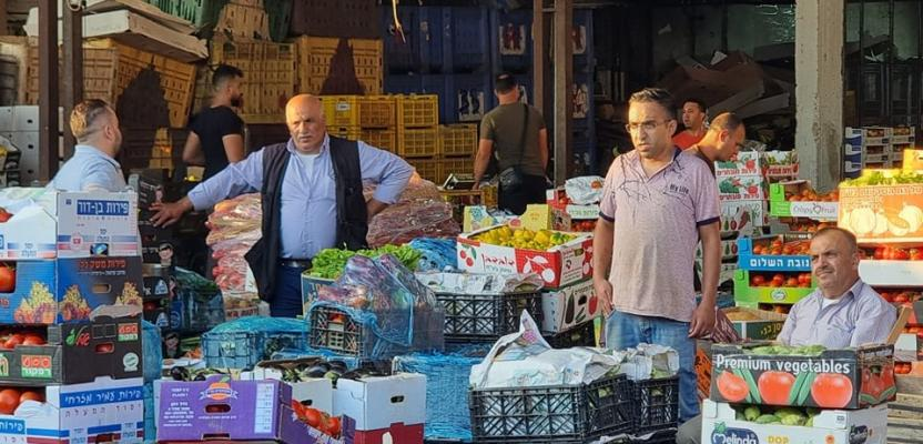 سوق الخضار بنابلس في بداية أيام الاسبوع